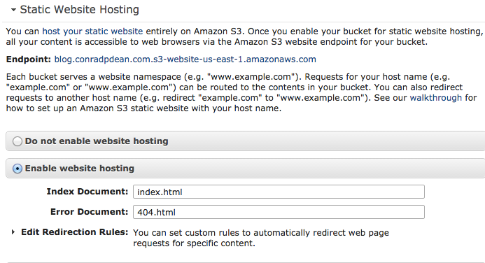 enable static hosting from the bucket